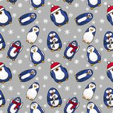 Penguin seamless Christmas pattern Royalty Free Stock Photography