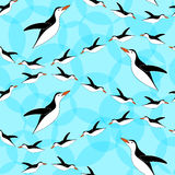 Penguin seamless pattern. Blue background. Penguins diving  Stock Image