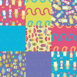 Penguin semaless patterns. Repeating colorul penguin seamless pattern illustrations Royalty Free Stock Photos