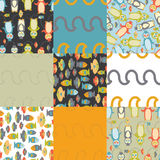 Penguin semaless patterns. Repeating coroful penguin seamless pattern illustrations Stock Images