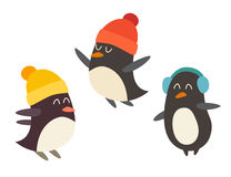 Penguin set cartoon vector illustration Stock Images