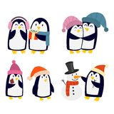 Penguin set vector characters Royalty Free Stock Photography
