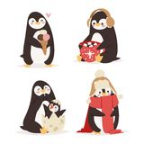 Penguin set vector characters Royalty Free Stock Photo