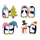 Penguin set vector characters Royalty Free Stock Image
