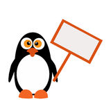 Penguin with a sign on a white background Stock Images