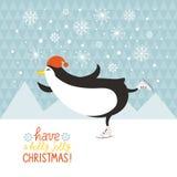 Penguin skates. Cute penguin skate, Christmas  card Stock Photo