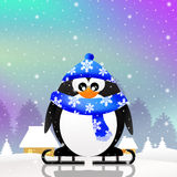 Penguin skating on ice Royalty Free Stock Images