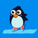 Penguin Skating on Ice. Vector Illustartion Stock Image