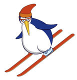 Penguin skiing. Vector A cartoon penguin skiing Stock Illustration