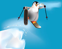 Penguin skiing and having fun. Stock Images