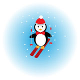 Penguin skiing in the snow Stock Images