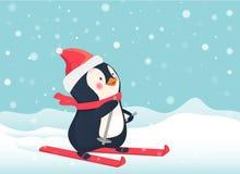 Penguin on skis. Penguin cartoon vector illustration Stock Photo