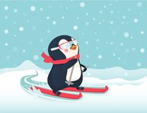 Penguin on skis. Penguin riding on skis on snow. Penguin cartoon vector illustration Royalty Free Stock Images