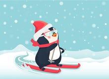 Penguin on skis. Penguin riding on skis on snow. Penguin cartoon vector illustration Stock Photography