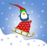 Penguin on sled. Colorful graphic illustration Stock Photo