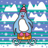 Penguin is sledding between the snow hills Royalty Free Stock Photo