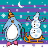 Penguin sledding with a snowman Royalty Free Stock Photography