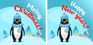 Penguin in snow scene. Post card vector illustration