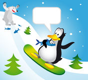 Penguin on a snowboard Stock Photos