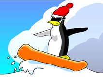 Penguin on snowboard Royalty Free Stock Image