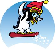 Penguin Snowboarder Stock Images