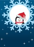 Penguin on snowflake background Royalty Free Stock Photography