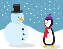 Penguin With Snowman Royalty Free Stock Image