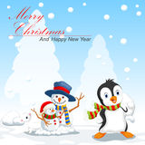 Penguin and snowman cartoon Stock Images