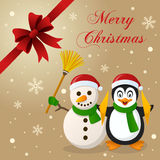 Penguin & Snowman Christmas Card. Merry Christmas card with a cartoon penguin smiling and playing cymbals and a cute snowman holding a broom, with snow and a Royalty Free Stock Image