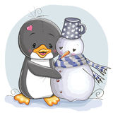 Penguin and snowman Royalty Free Stock Photo
