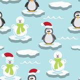 Penguin and snowman on ice floe, vector  Stock Photos