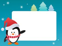 Penguin on snowy background Stock Photos