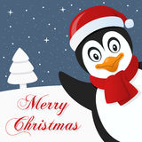 Penguin Snowy Merry Christmas Card Royalty Free Stock Photography