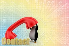 Penguin speaking through phone Illustration Stock Image