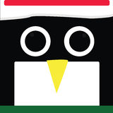 Penguin. Square penguin face with Christmas hat and green scarf Royalty Free Stock Photos