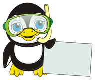 Penguin stand and hold an empty plate. Cute penguin in green mask with snorkel hold in his wings a clean white paper vector illustration