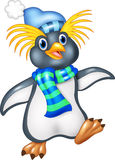 Penguin is standing use a shawl and hat cap. Illustration of Penguin is standing use a shawl and hat cap on white background Stock Photos