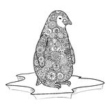 Penguin stands on an ice floe. Zen tangle vector. Zentangle animals. Stock Photography
