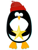 Penguin with Star. Stylized cartoon of a penguin in a knit cap holding a star Stock Photo
