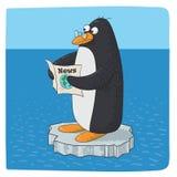 Penguin struggling with climate change stock illustration