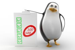 Penguin with 100 % success bill board Stock Photo