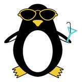 Penguin in sunglasses with cocktail Royalty Free Stock Photo