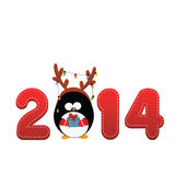 2014 Penguin. 2014 text design with cute little peinder costumed penguin Stock Photography