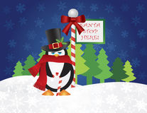 Penguin Top Hat at Santa Stop Here Sign Stock Photography