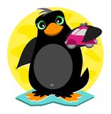 Penguin and Toy Car Royalty Free Stock Images