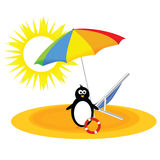 Penguin with umbrella on the beach  Stock Image