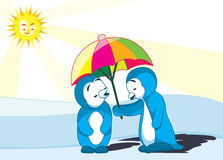 Penguin under umbrella. Two penguins under umbrella with the sun shine bright royalty free illustration