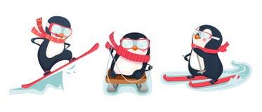 Active penguins in winter. Penguin vector illustration. Active penguins in winter Royalty Free Stock Image