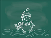 Penguin, vector of penguin Christmas drawing on the blackboard chalk Royalty Free Stock Image