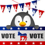Penguin Vote for Democrat with Flag Royalty Free Stock Image